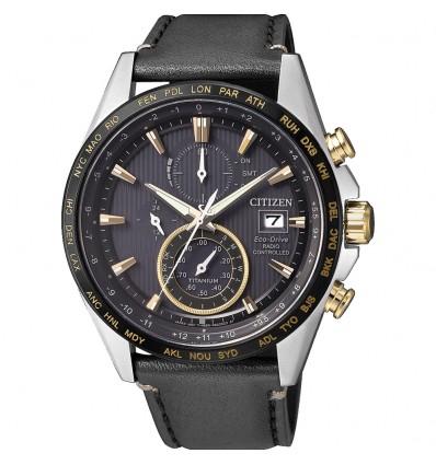 Citizen H800 Titanio Quadrante nero, I.P. oro giallo, cinturino pelle, Super Titanio