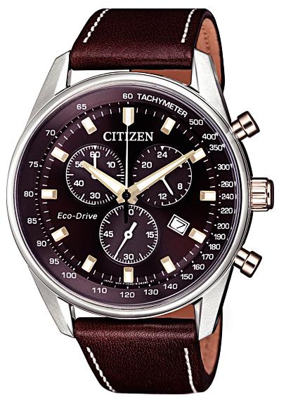 Citizen Chrono Cassa acciaio particolari I.P. oro, quadrante marrone