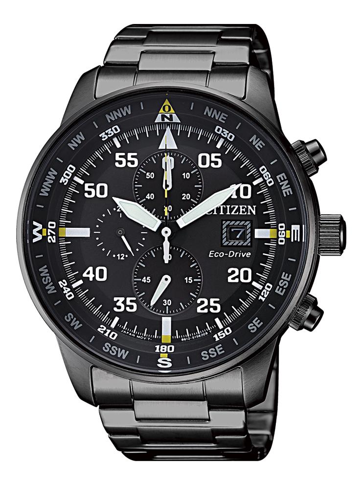 Citizen Aviator Chrono Cassa e bracciale acciaio I.P. nero, quadrante nero