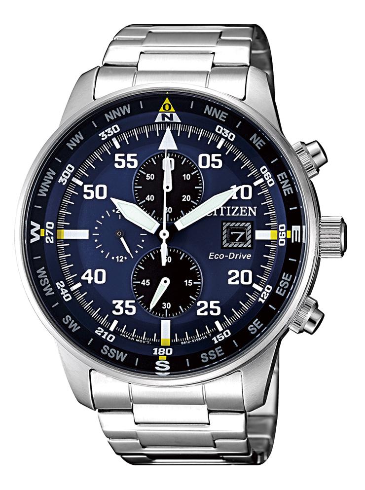 Citizen Aviator Chrono Cassa e bracciale acciaio, quadrante blu