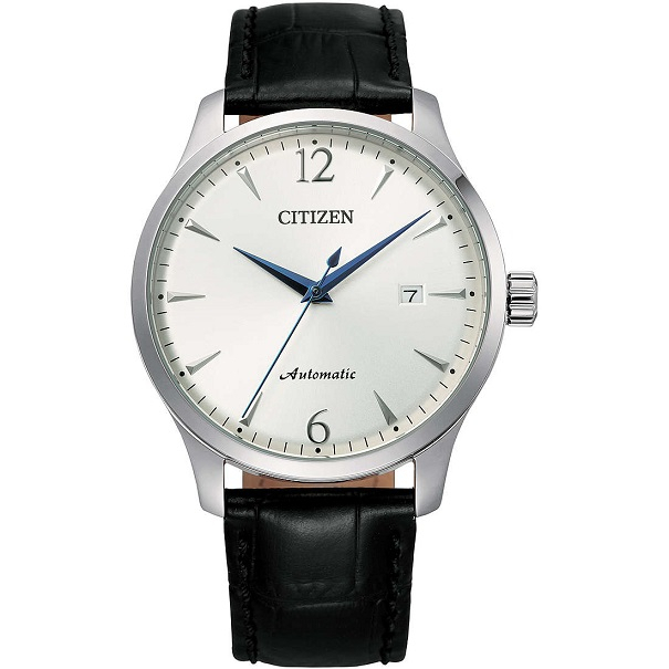 Citizen Meccanico automatico cassa acciaio, cinturino pelle nero, quadrante silver
