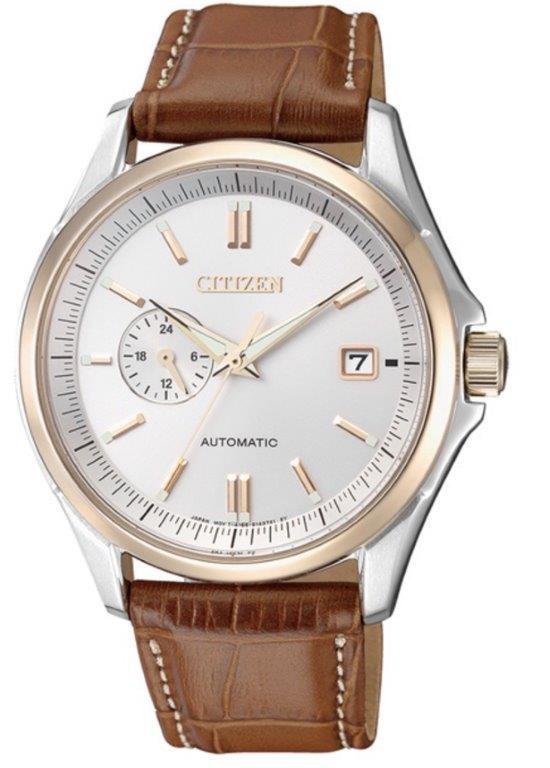 Citizen Meccanico automatico cassa acciaio I.P. oro, quadrante silver, cinturino pelle marrone