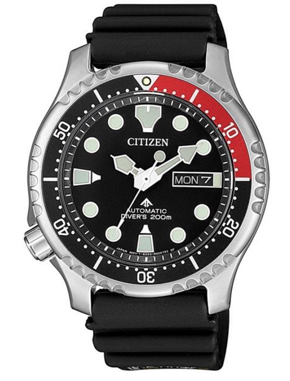 Citizen Diver Automatico cassa acciaio, cinturino gomma, quadrante nero, ghiera rosso nera