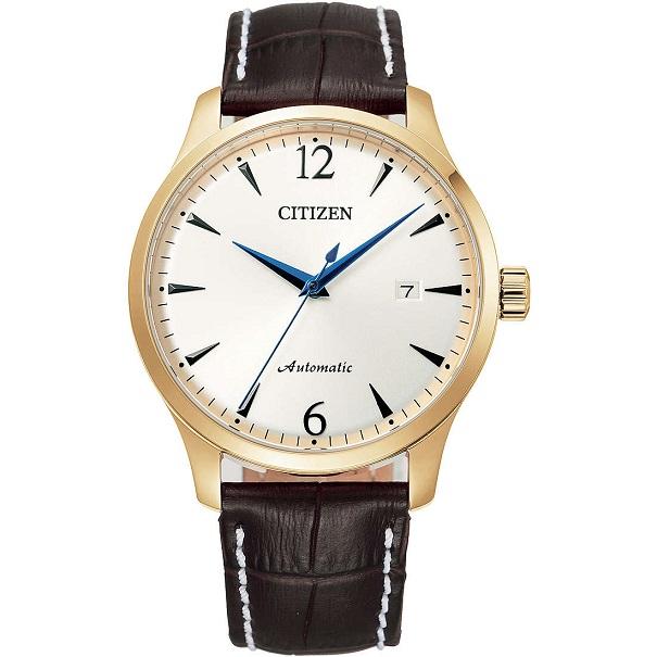 Citizen Meccanico automatico Cassa acciaio i.p. gold, cinturino pelle marrone, quadrante silver