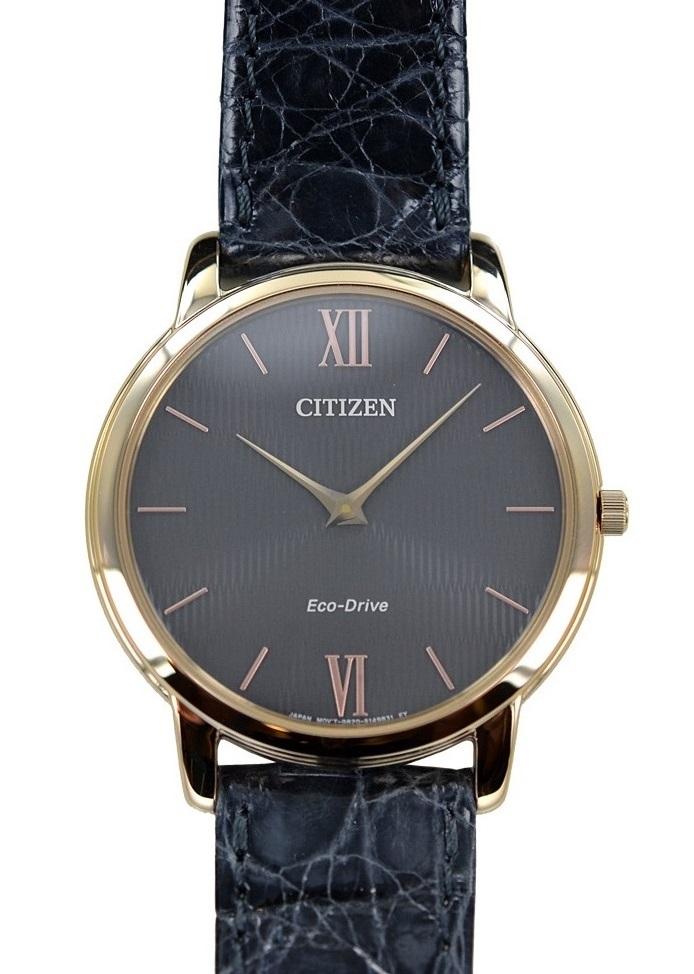 Citizen 0.45 Ultrapiatto Cassa acciaio I.P.oro, cinturino grigio, quadrante grigio