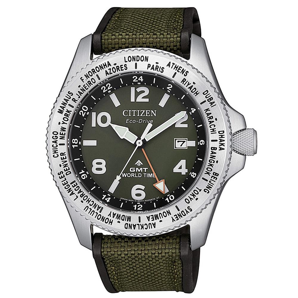 Citizen Promaster Field GMT Cassa acciaio cinturino in tessuto tecnico verde-nero