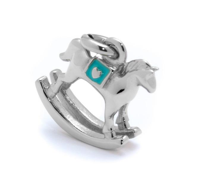 Marlù Ciondolo La Prima Coccola -Charm cavallino a dondolo azzurro