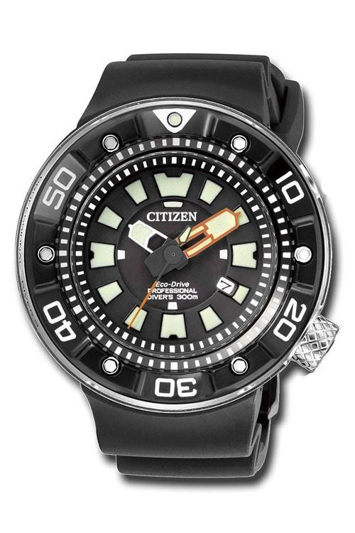 Citizen Professional Diver's 300 mt. Cassa acciaio DLC nero, particolari arancioni