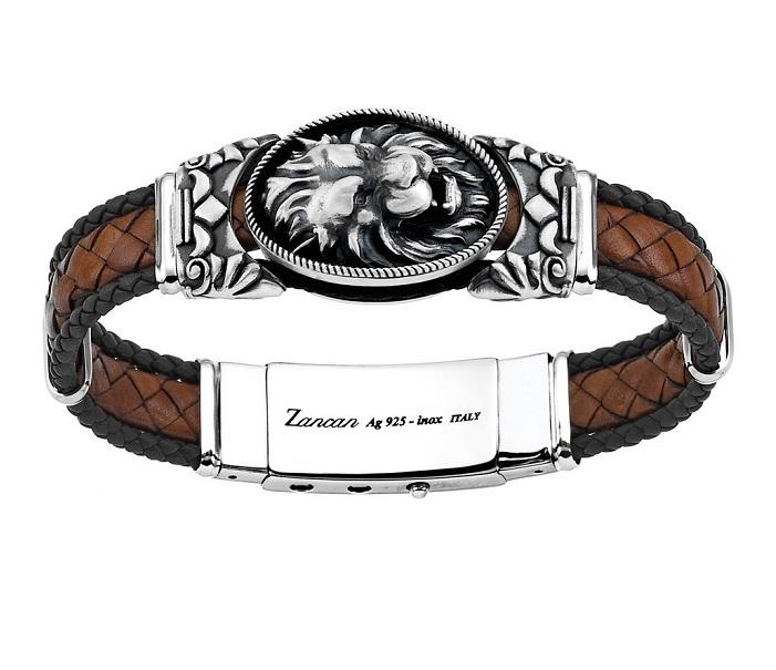 Zancan Bracciale Vintage (Pelle marrone, Leone)