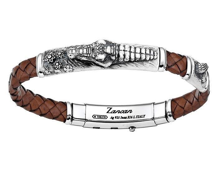 Zancan Bracciale Vintage (Pelle marrone, Coccodrillo)