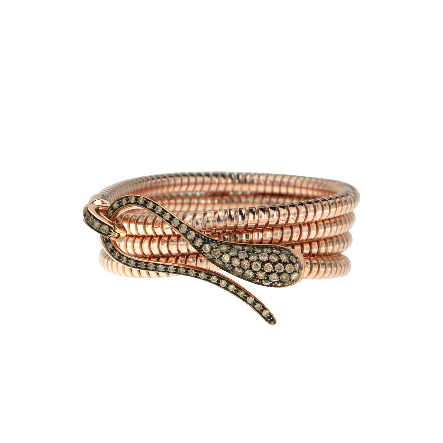 Elika tubogas bracelet with pink gold and brown diamonds clasp