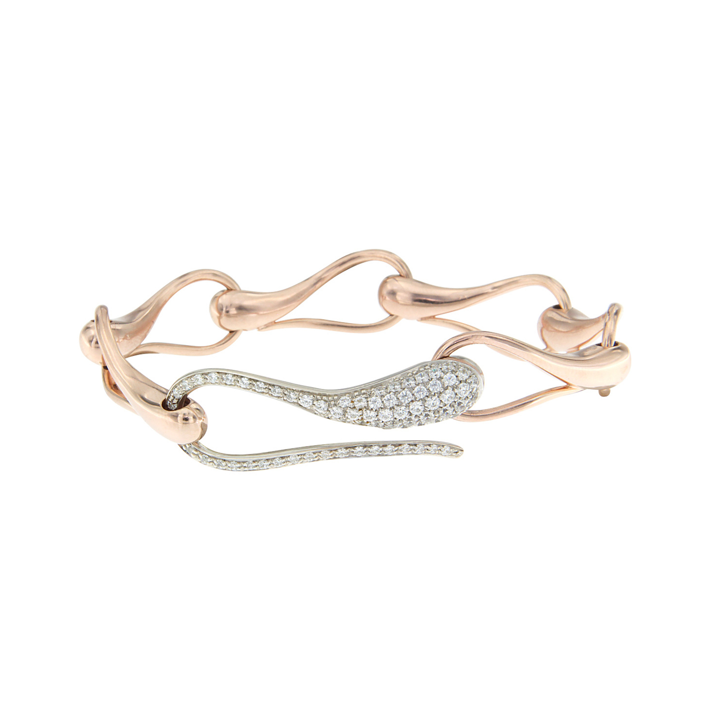 Bracciale catena  in oro rosa, bianco e diamanti