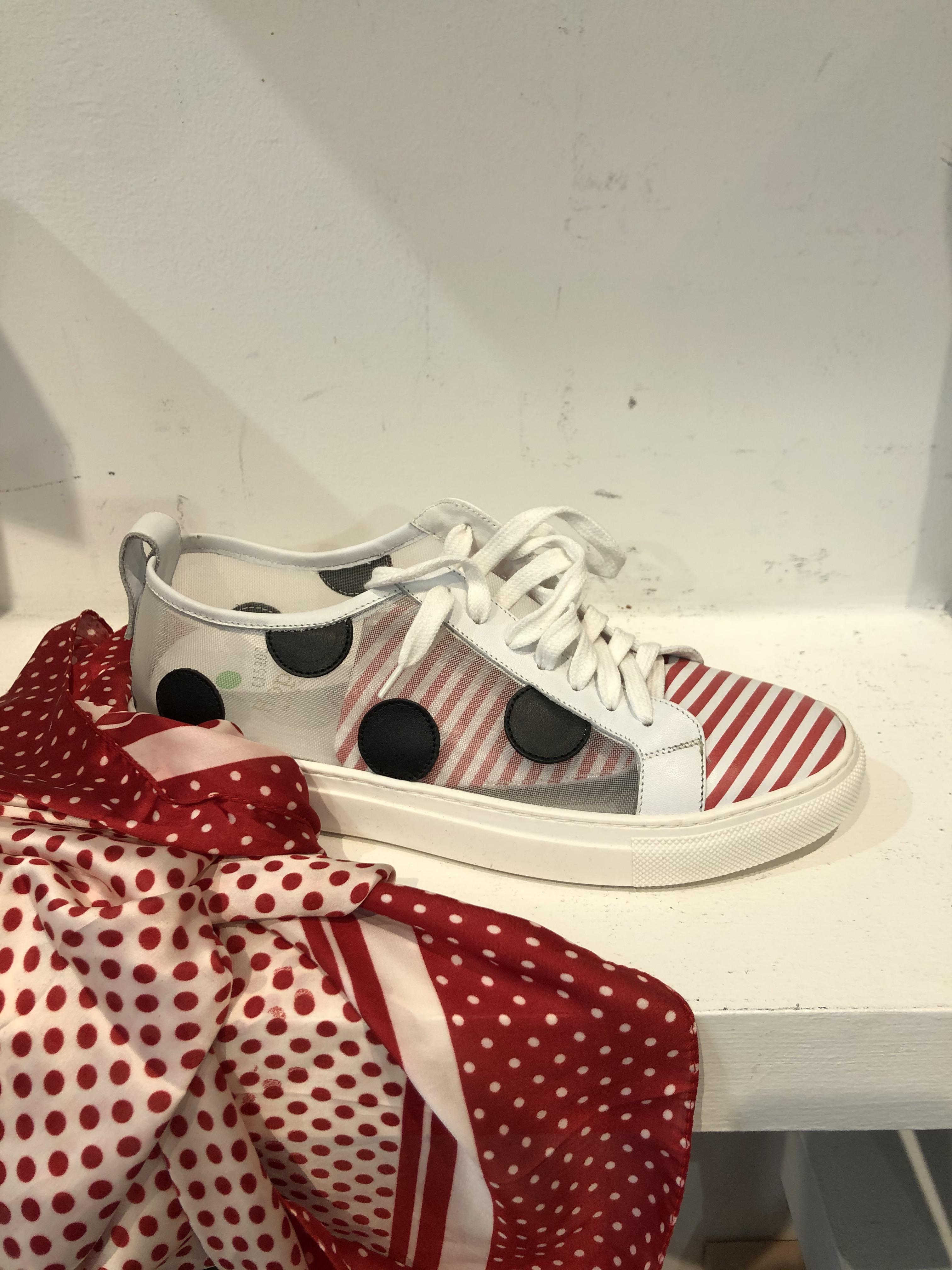 Hop Scarpa Donna Sneakers A3 Nappa Bianco/Rosso/Nero