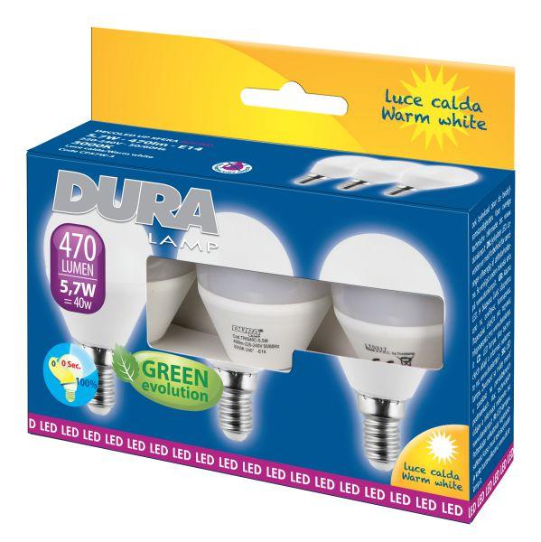 LAMPADINE SFERA 5,7W/E14 3000K DURALAMP