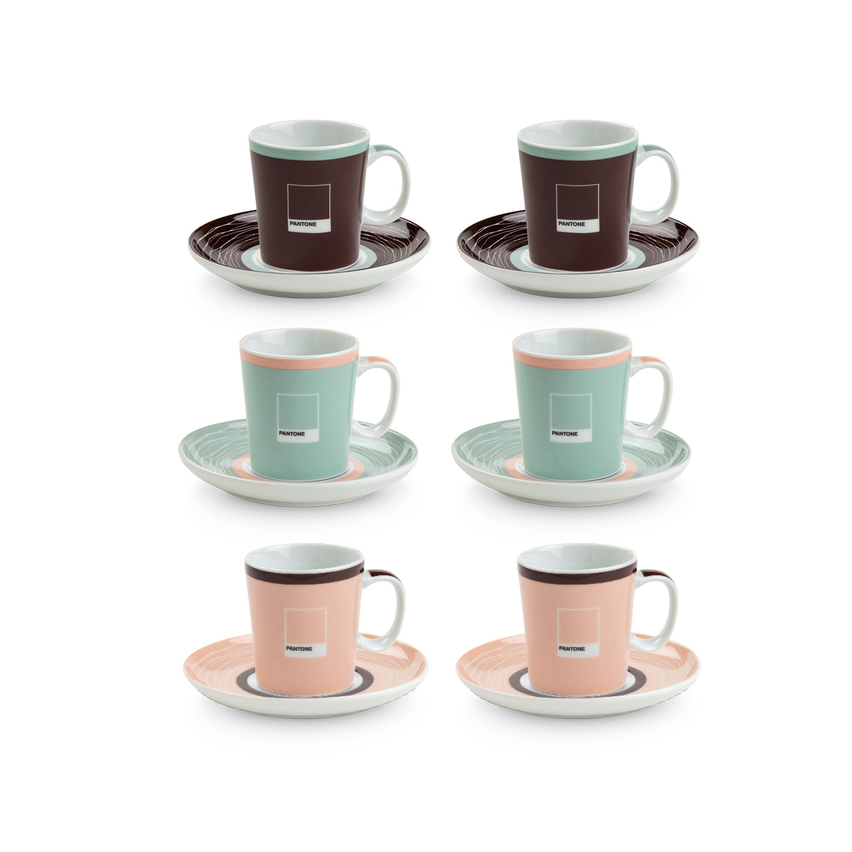 SET 6 TAZZINE CAFFE' PANTONE EGAN ASSORTITE