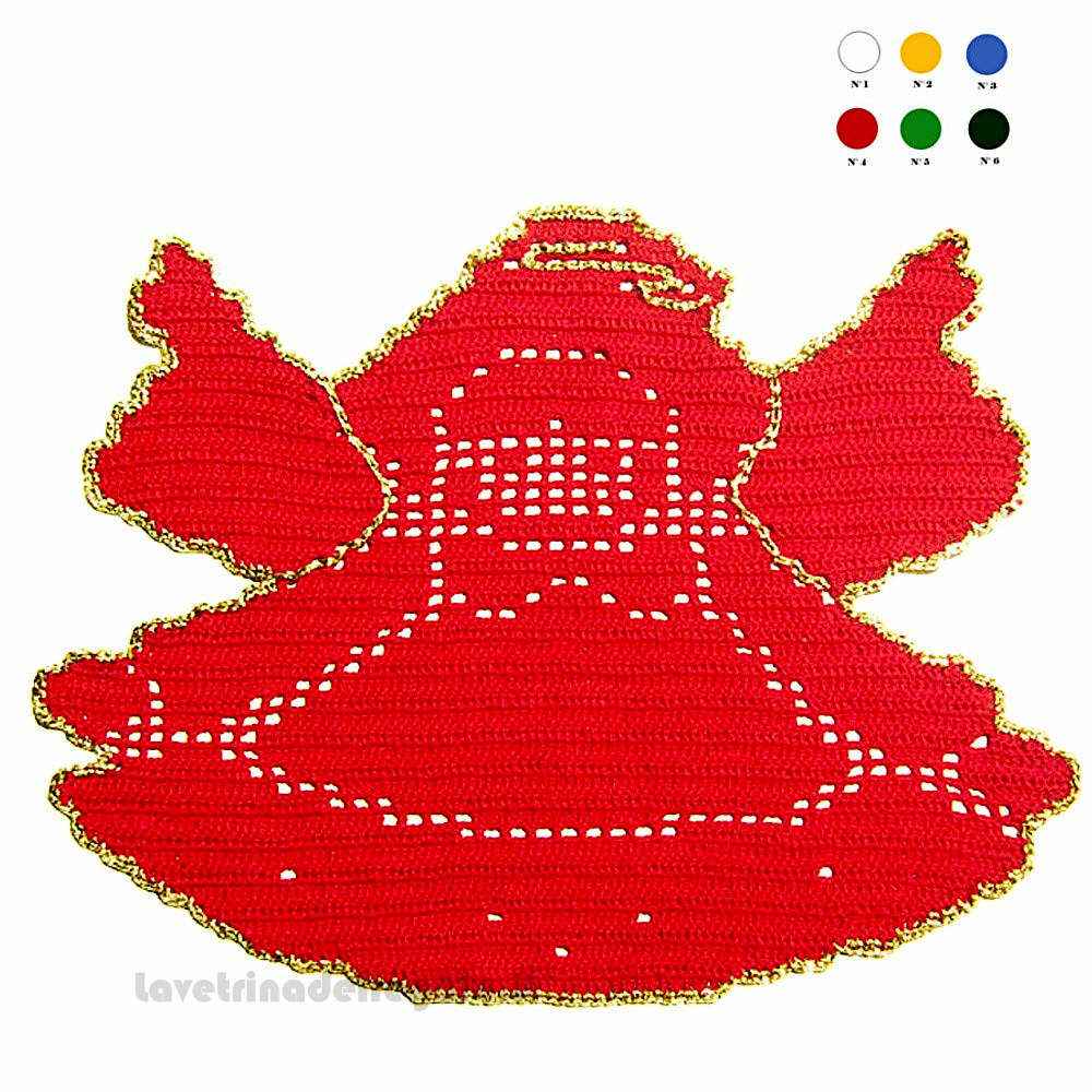 Centrino rosso a forma di angelo ad uncinetto 25,5 H cm - Handmade - Italy