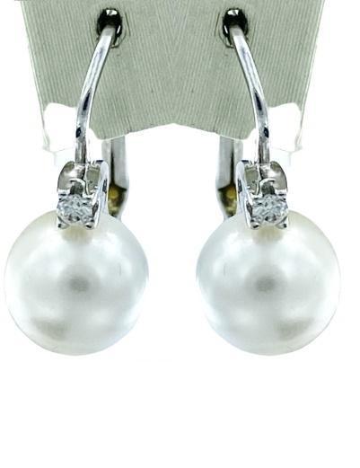 Orecchini a lobo Yukiko in oro bianco 18kt perle misura 7/7.5  e diamanti