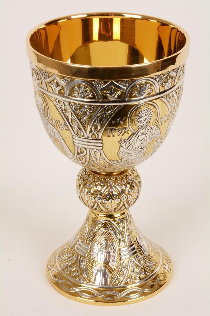 Calice tutto argento decorazione bicolore MDA186