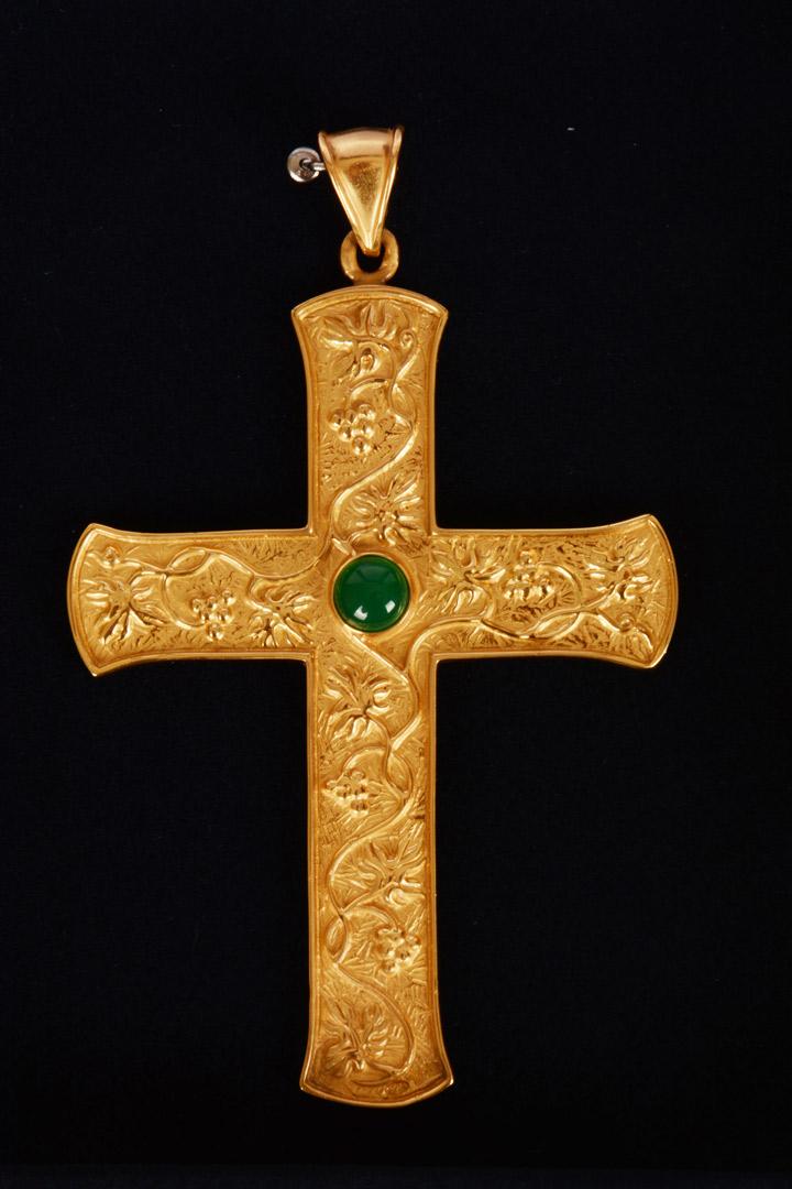 Croce Pettorale in Argento Dorato con Pietra MDA520