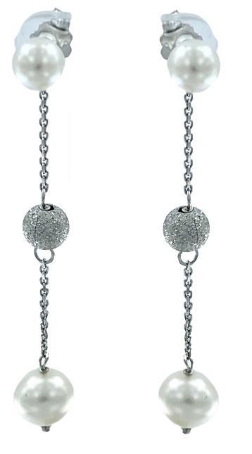 Orecchini Yukiko a pendenti in oro bianco 18kt con  perle