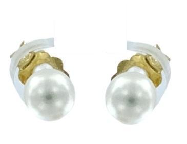 Orecchini Yukiko a lobo in oro bianco o giallo  18kt con perle misura 4,5 - 5.