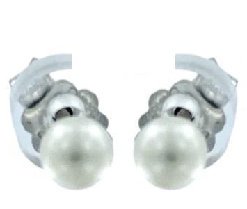 Orecchini Yukiko a lobo in oro bianco 18kt con perle misura 3.5/4