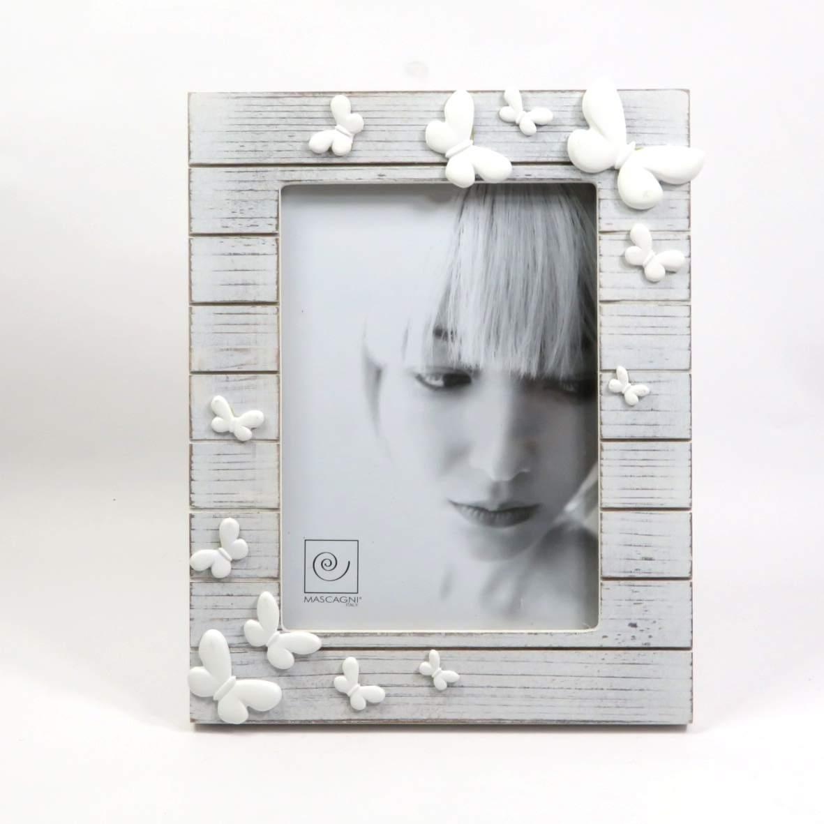 Cornice in legno 13x18 con farfalle bianche di Mascagni