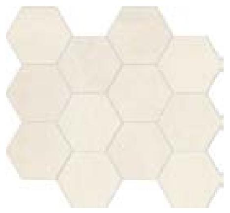 COLLEZIONE GLANCE MOSAICO ESAGONALE OFF-WHITE CM.28,8X33,2 NATURALE RECT 1° SCELTA
