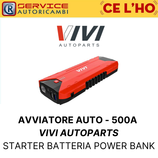 STARTER AVVIATORE AUTO PORTATILE - 500A VIVI AUTOPARTS BATTERIA POWER BANK