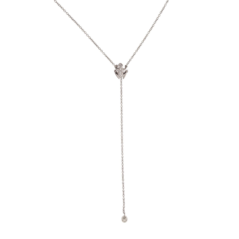 Collana Y-shape in oro bianco 18k e diamanti