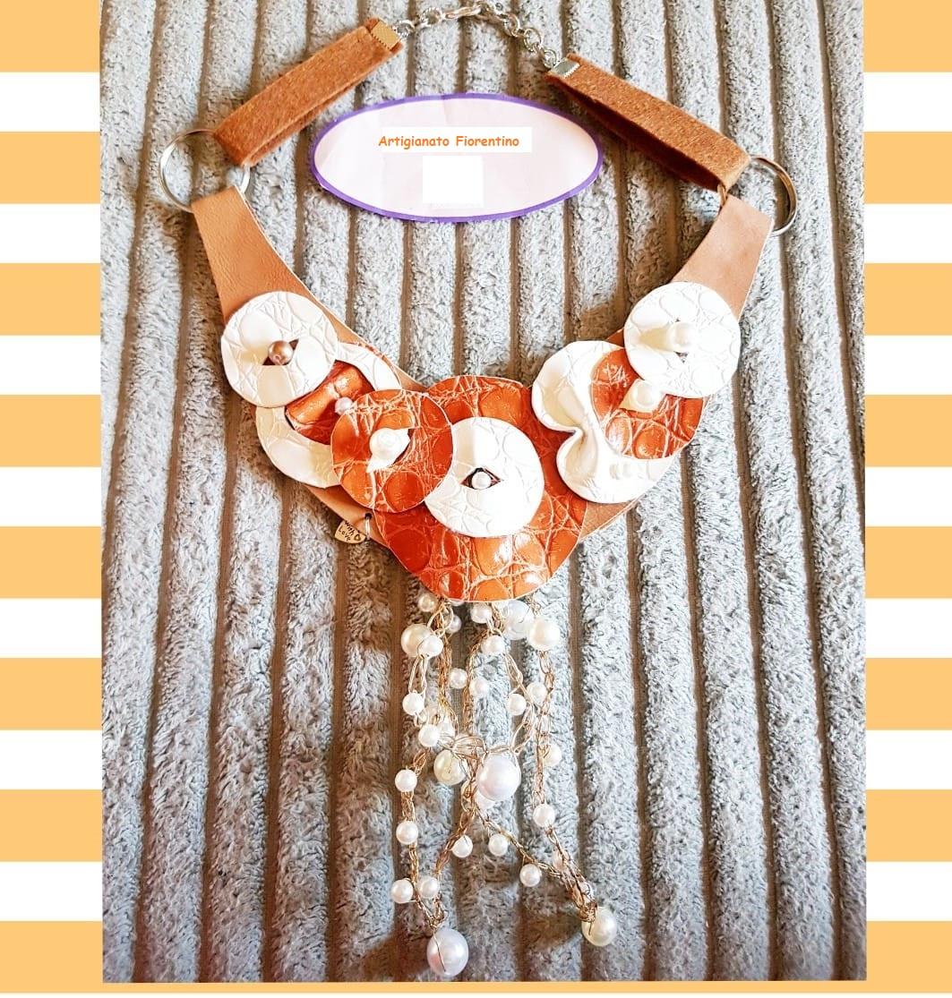 Collana girocollo artigianale | Bigiotteria in Ecopelle