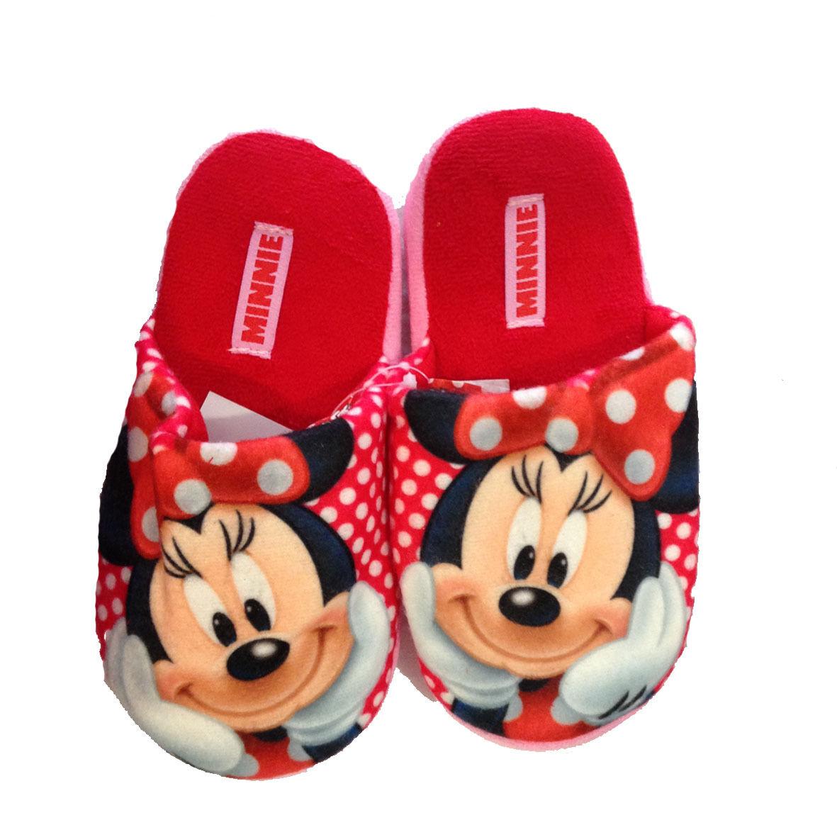 Minnie ciabatte rosse in morbido peluches con pallini antiscivolo varie taglie