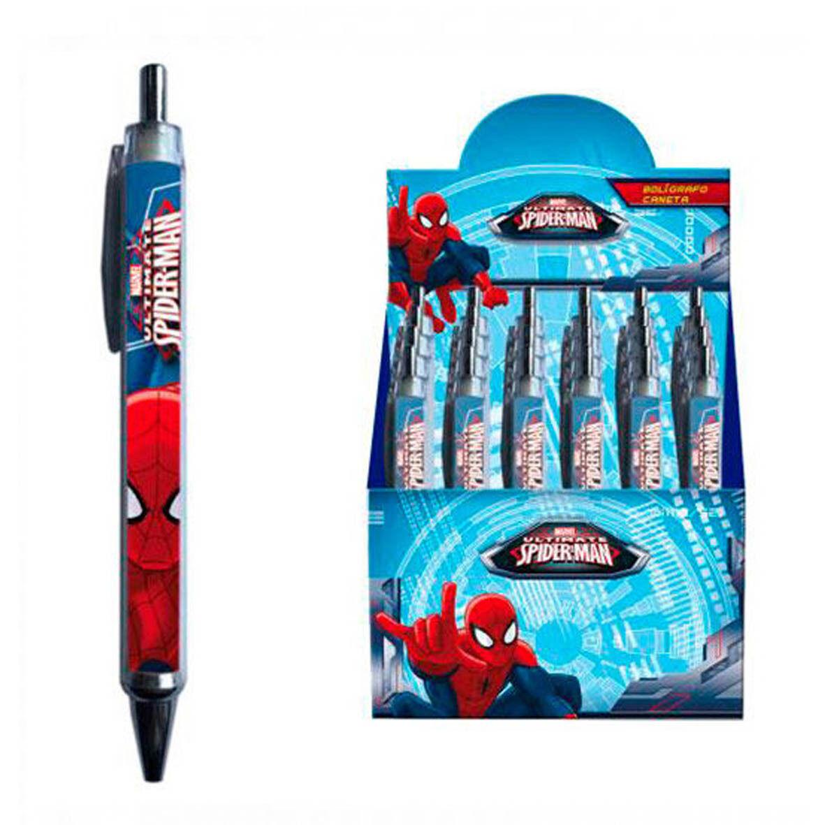 SPIDERMAN UOMO RAGNO penna a scatto blu scuola 13,5 cm