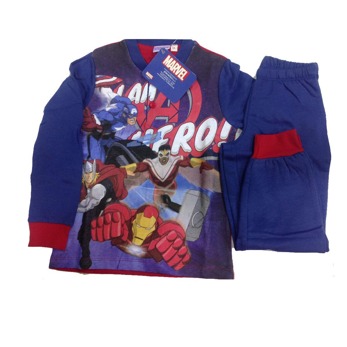 AVENGERS pigiama in cotone blu maglia e pantalone lunghi varie taglie da bambino