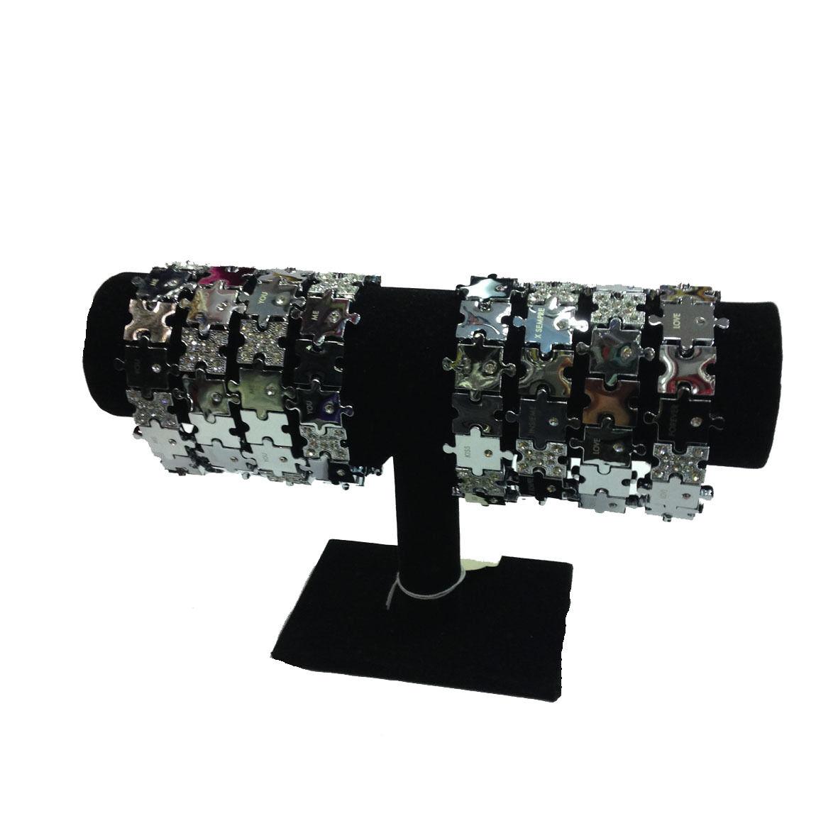 Bracciale elasticizzato puzzle in acciaio argentato con scritte e strass per lei