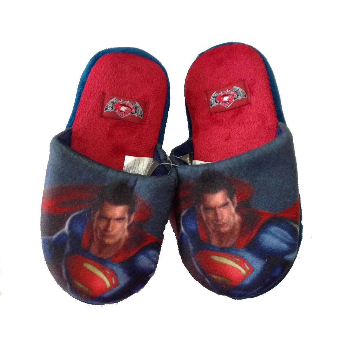 SUPERMAN ciabatte rosse in morbido peluches con pallini antiscivolo varie taglie