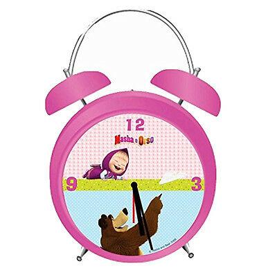 MASHA E ORSO sveglia a doppia campana fucsia in metallo 12,5 cm da bambina