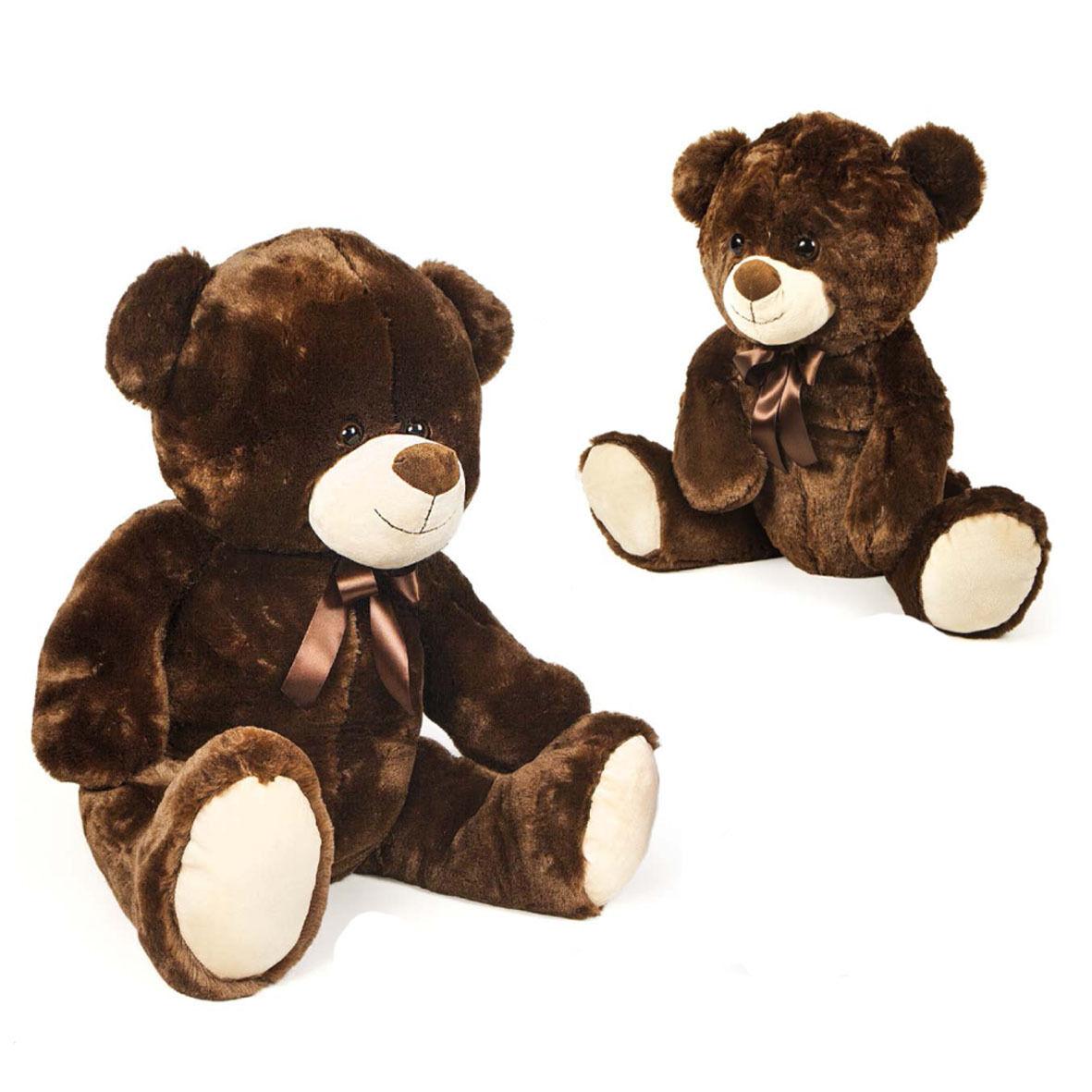 Orso orsacchiotto peluches gigante morbidissimo marrone con fiocco circa 70 cm