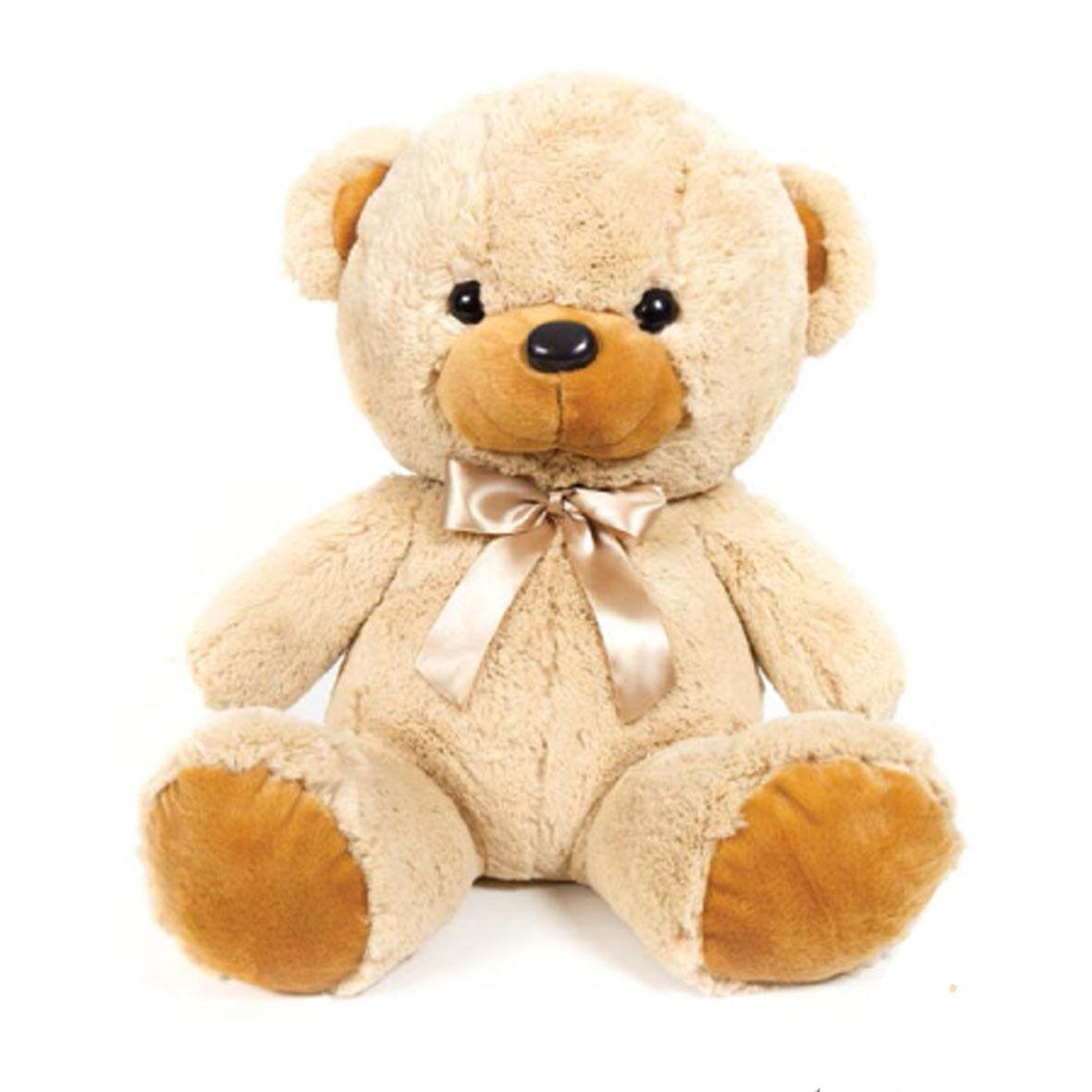 Orso orsacchiotto peluches morbidissimo beige con fiocco di raso circa 34 cm