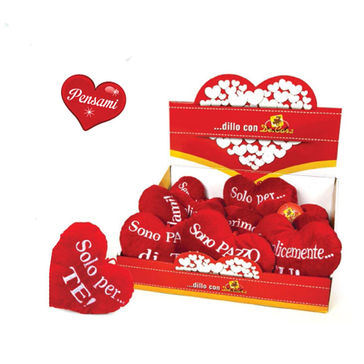 AMORE cuscino cuore rosso varie scritte ricamate idea regalo romantica 16,5 cm