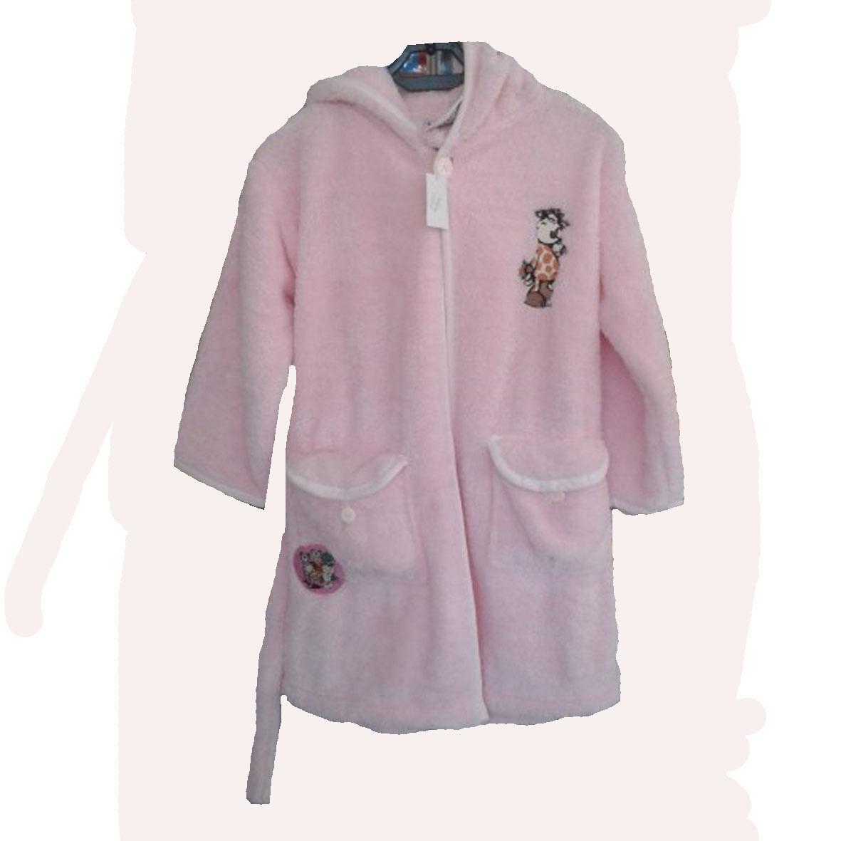 NICI vestaglia rosa con giraffa ricamata in peluches morbidissima con cinta