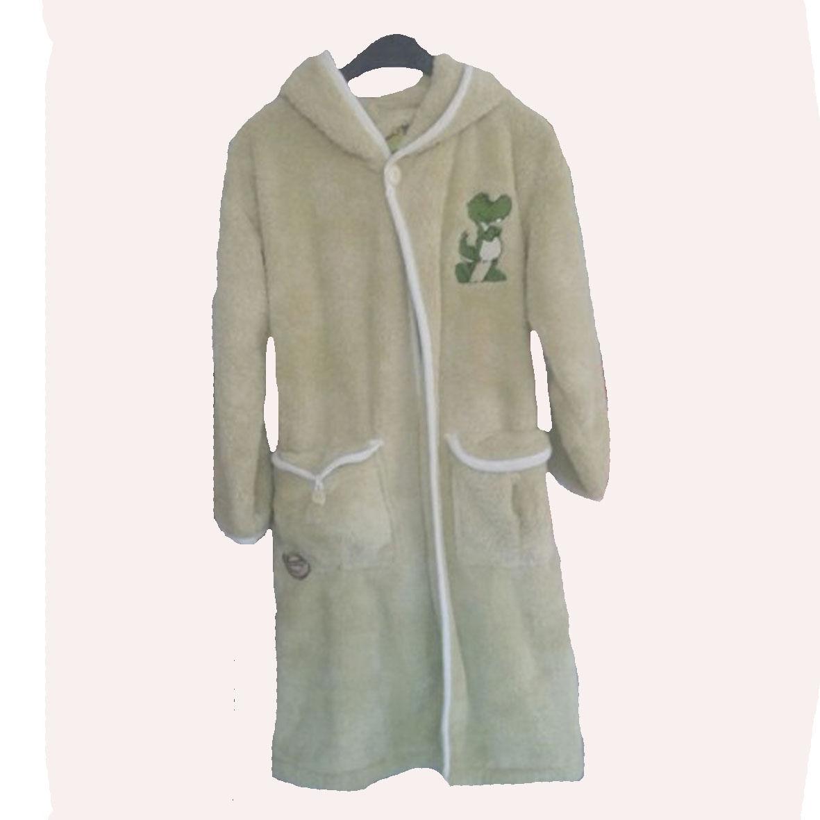 NICI vestaglia verde con draghetto ricamata in peluches morbidissima con cinta