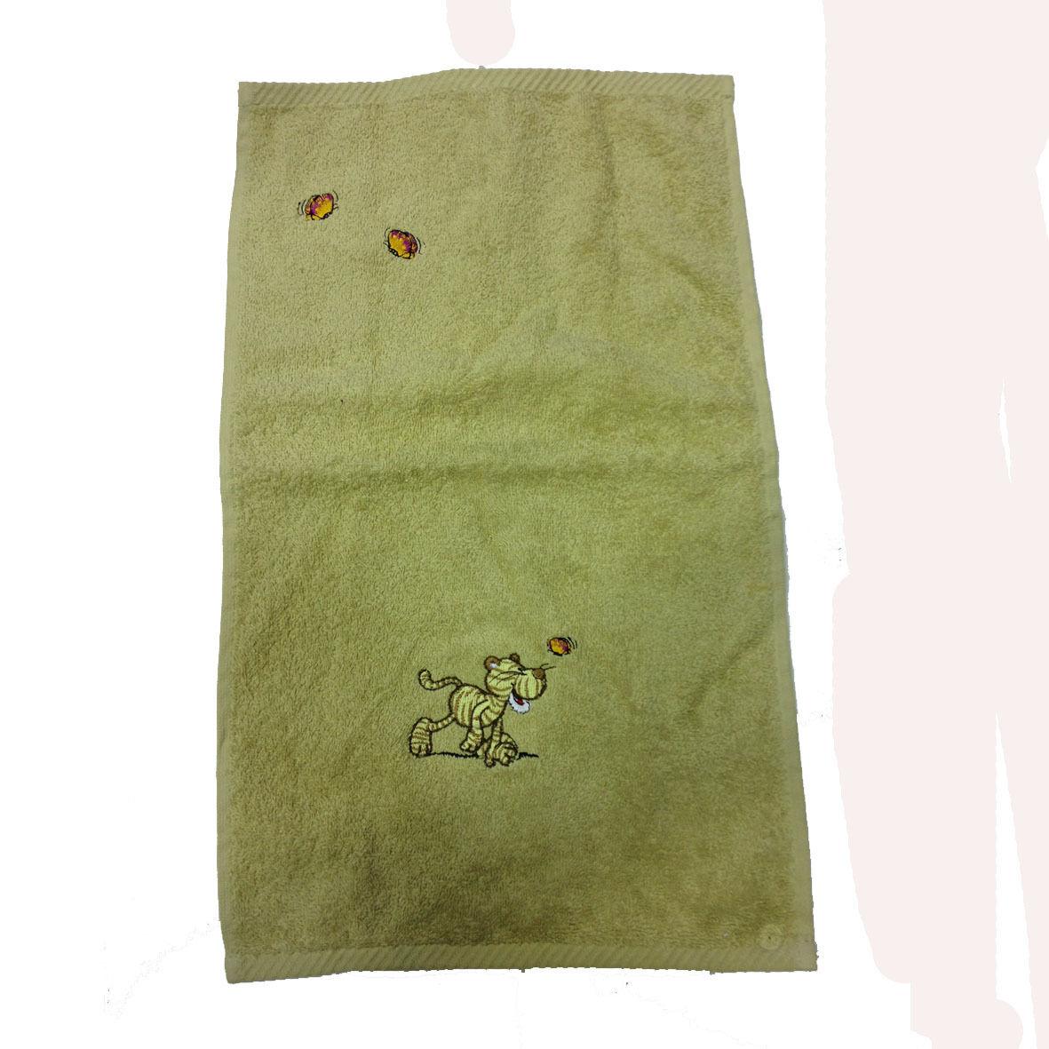 NICI ascigamanino piccolo beige ricamato in morbida spugna di cotone 30x50cm