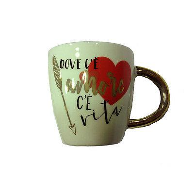 AMORE tazza mug in ceramica DOVE C'E' AMORE C'E' VITA  9,5 cm San Valentino
