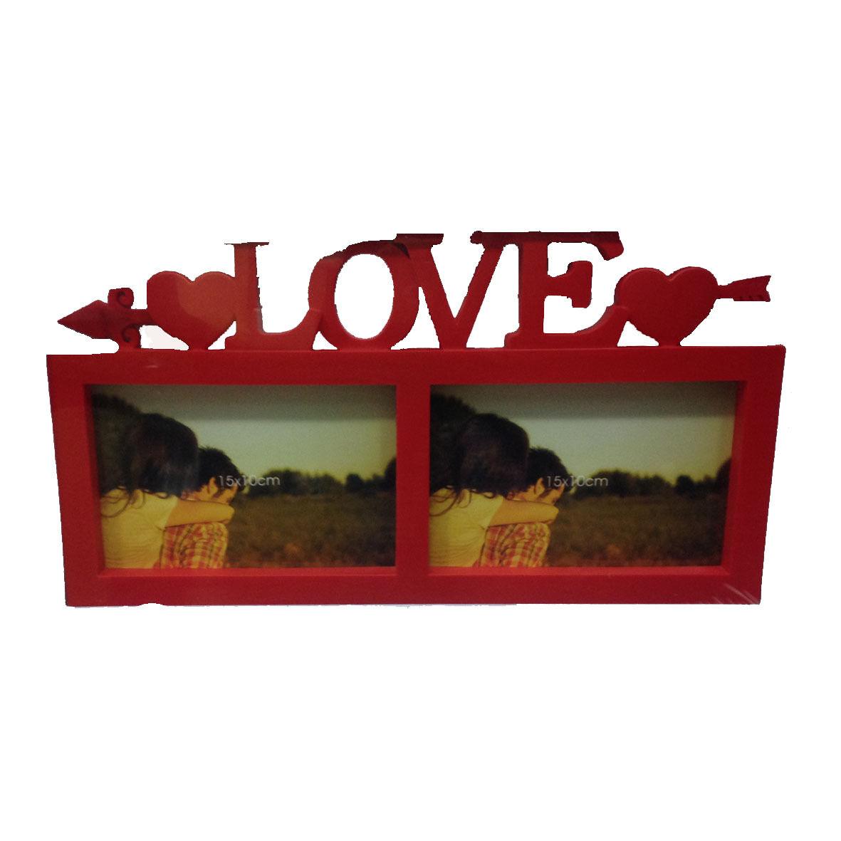 AMORE cornice rossa in plastica scritta LOVE d'appoggio 2 foto 32,5x17 cm