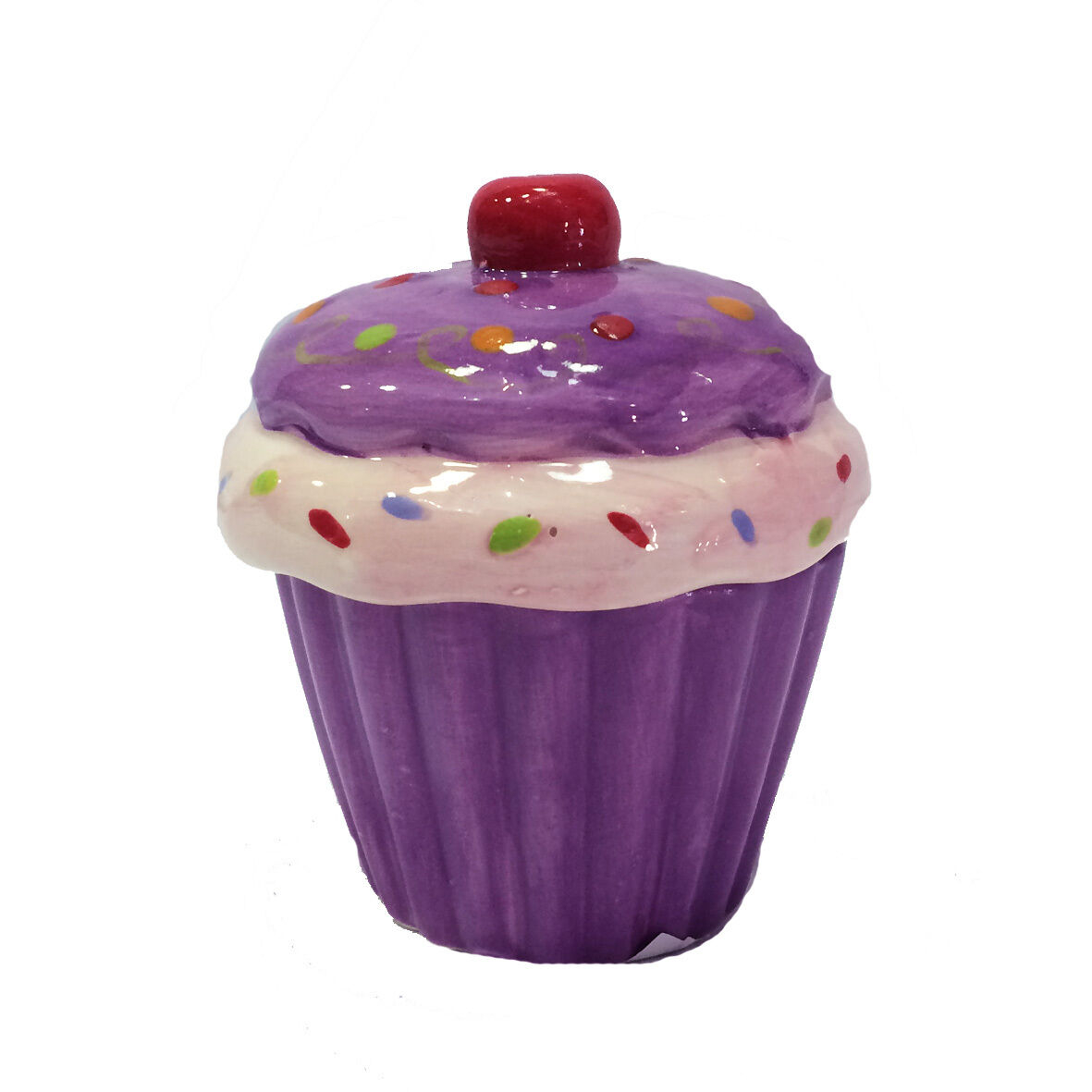 Scatolina in ceramica dipinta a CUP CAKE rose e viola porta oggetti e gioielli