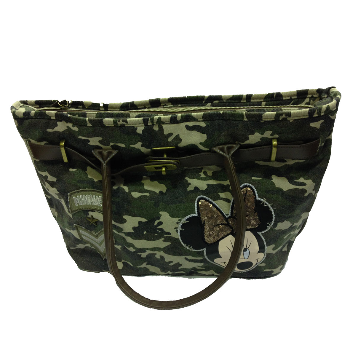 MINNIE borsa spalla shopper in stoffa camouflage vintage e pallet 27x47x14,5 cm