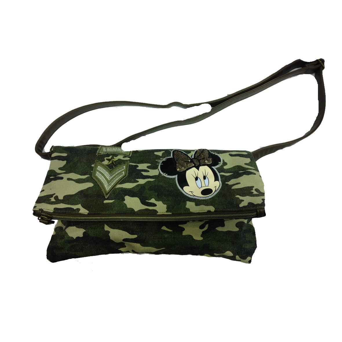 MINNIE borsa tracolla regolabile in stoffa camouflage vintage e pallets 31x16 cm