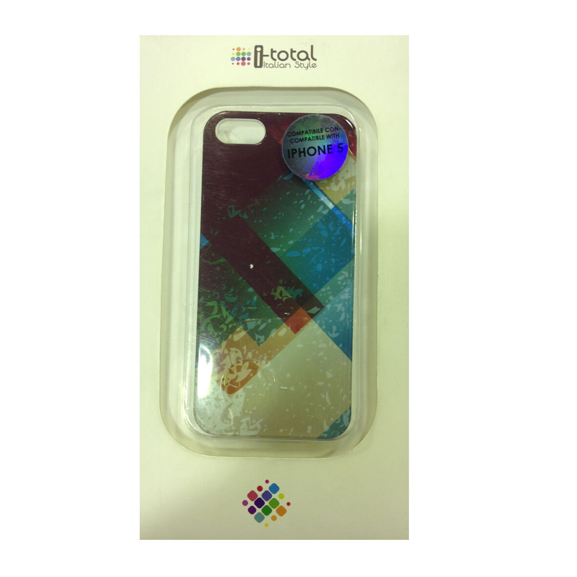 COVER mascherine iphone 5/5S geometrica multicolore rigida in plastica I-TOTAL