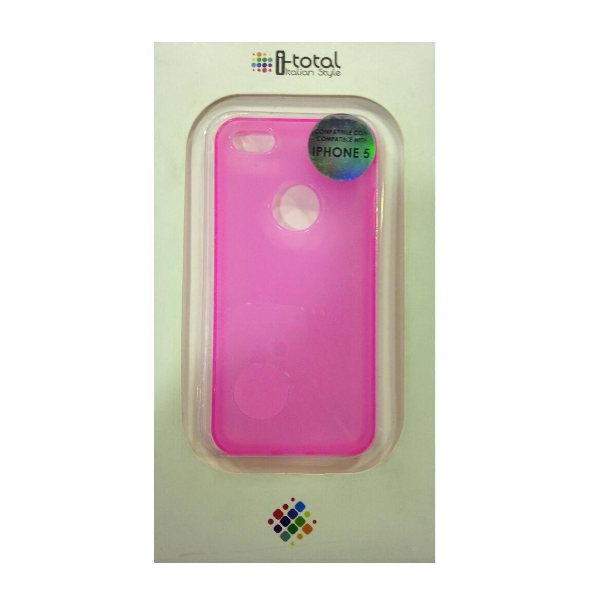 COVER mascherine iphone 5/5S rosa fluo in silicone TPU liscio I-TOTAL